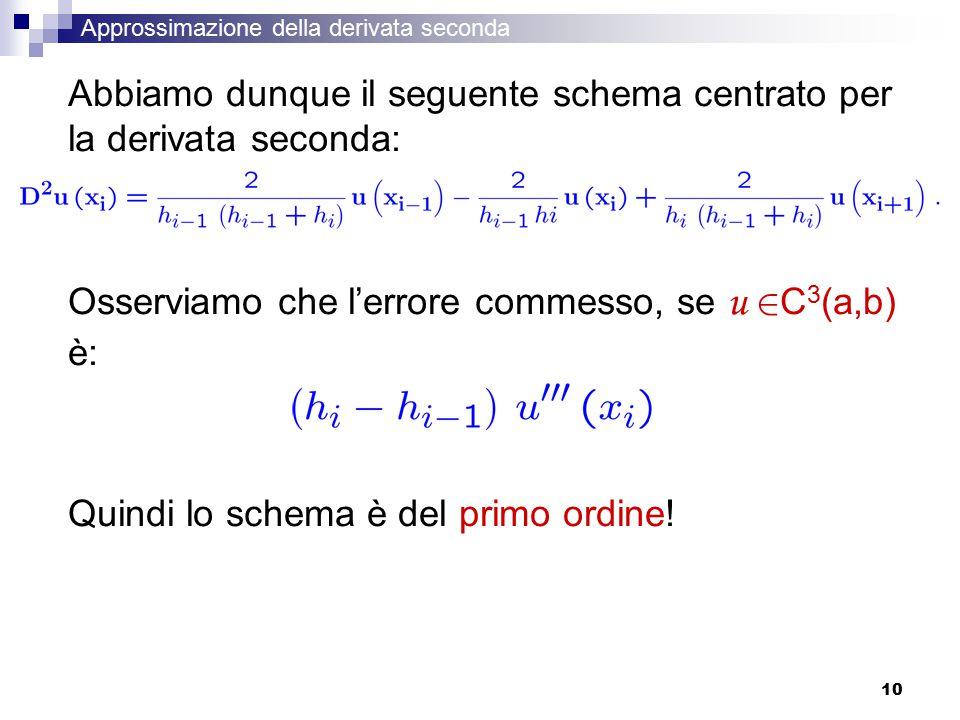 Abbiamo dunque il seguente schema centrato per la derivata seconda:
