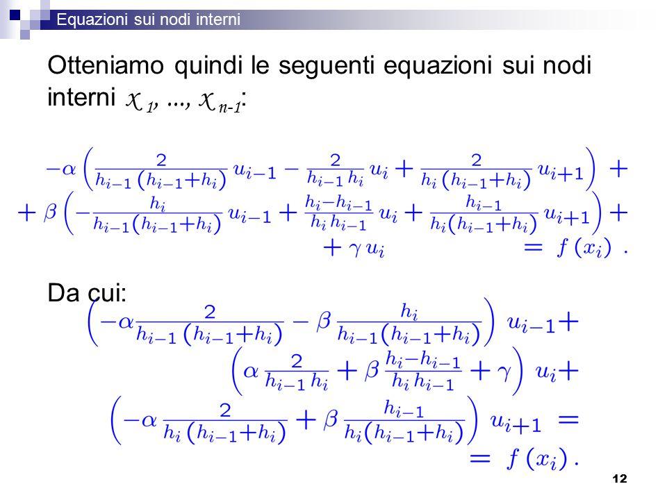 Equazioni sui nodi interni