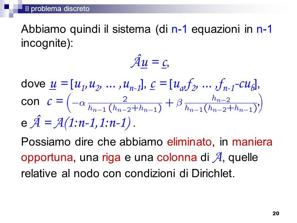 Âu = c, Abbiamo quindi il sistema (di n-1 equazioni in n-1 incognite):