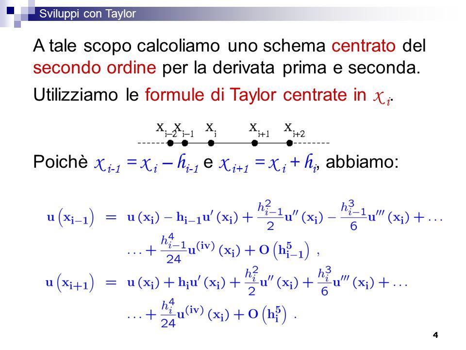Utilizziamo le formule di Taylor centrate in x i.