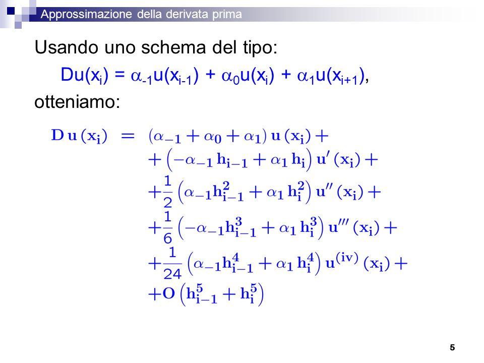 Usando uno schema del tipo: Du(xi) = -1u(xi-1) + 0u(xi) + 1u(xi+1),