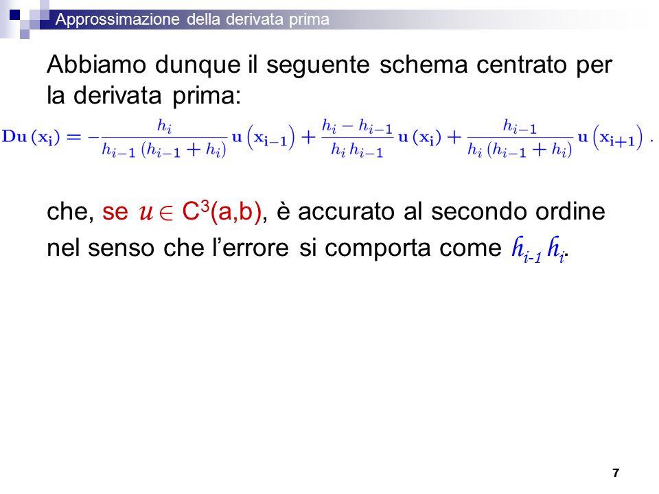 Abbiamo dunque il seguente schema centrato per la derivata prima: