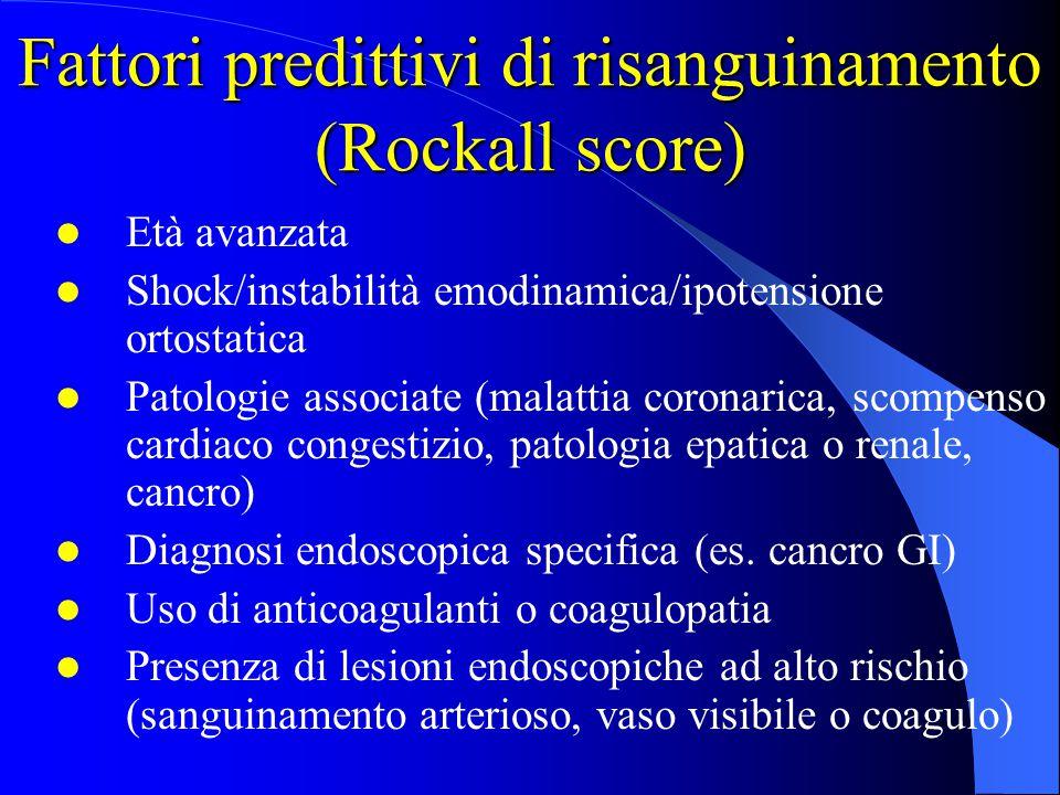 Fattori predittivi di risanguinamento (Rockall score)