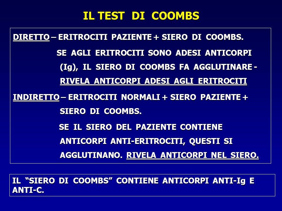 IL TEST DI COOMBS DIRETTO – ERITROCITI PAZIENTE + SIERO DI COOMBS.