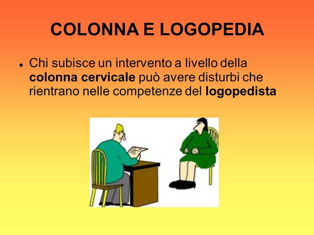 COLONNA E LOGOPEDIA Chi subisce un intervento a livello della colonna cervicale può avere disturbi che rientrano nelle competenze del logopedista.