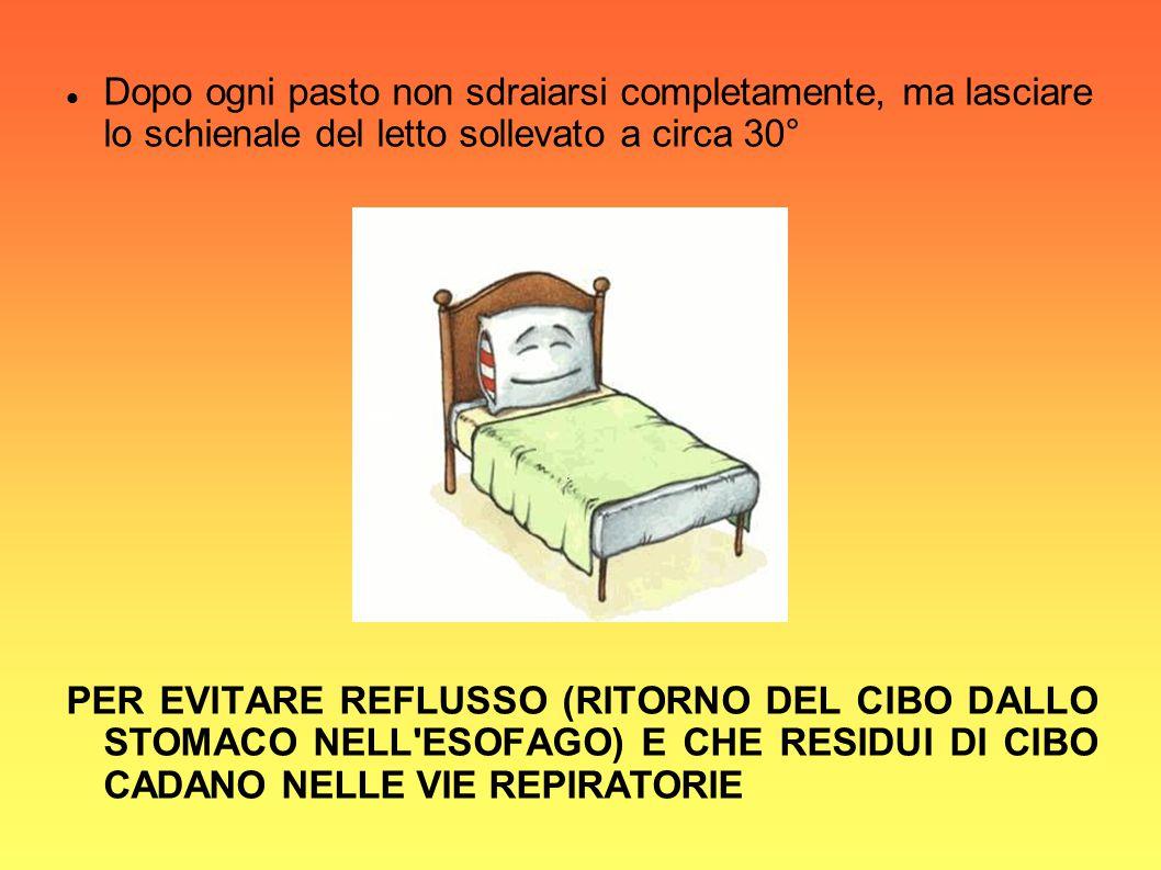 Dopo ogni pasto non sdraiarsi completamente, ma lasciare lo schienale del letto sollevato a circa 30°