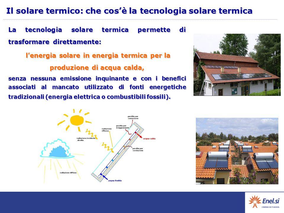 l'energia solare in energia termica per la produzione di acqua calda,