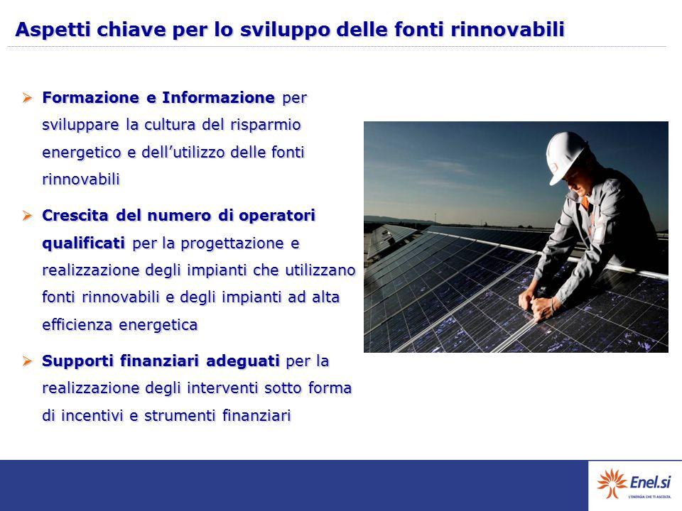Aspetti chiave per lo sviluppo delle fonti rinnovabili
