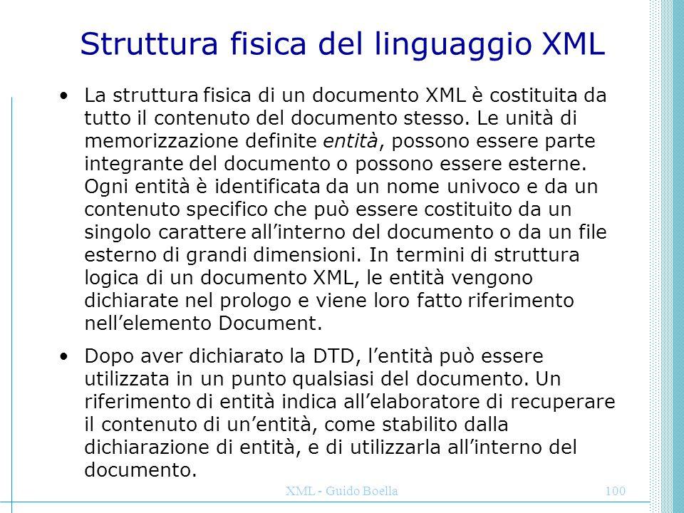 Struttura fisica del linguaggio XML