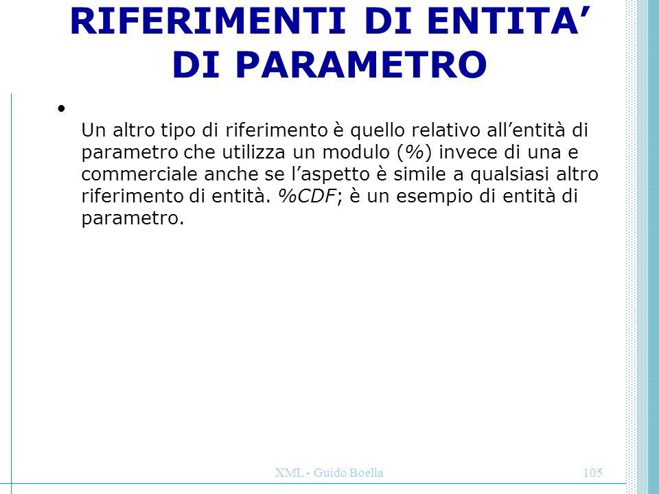 RIFERIMENTI DI ENTITA' DI PARAMETRO