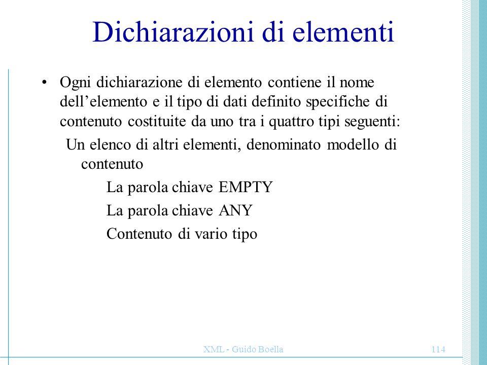 Dichiarazioni di elementi