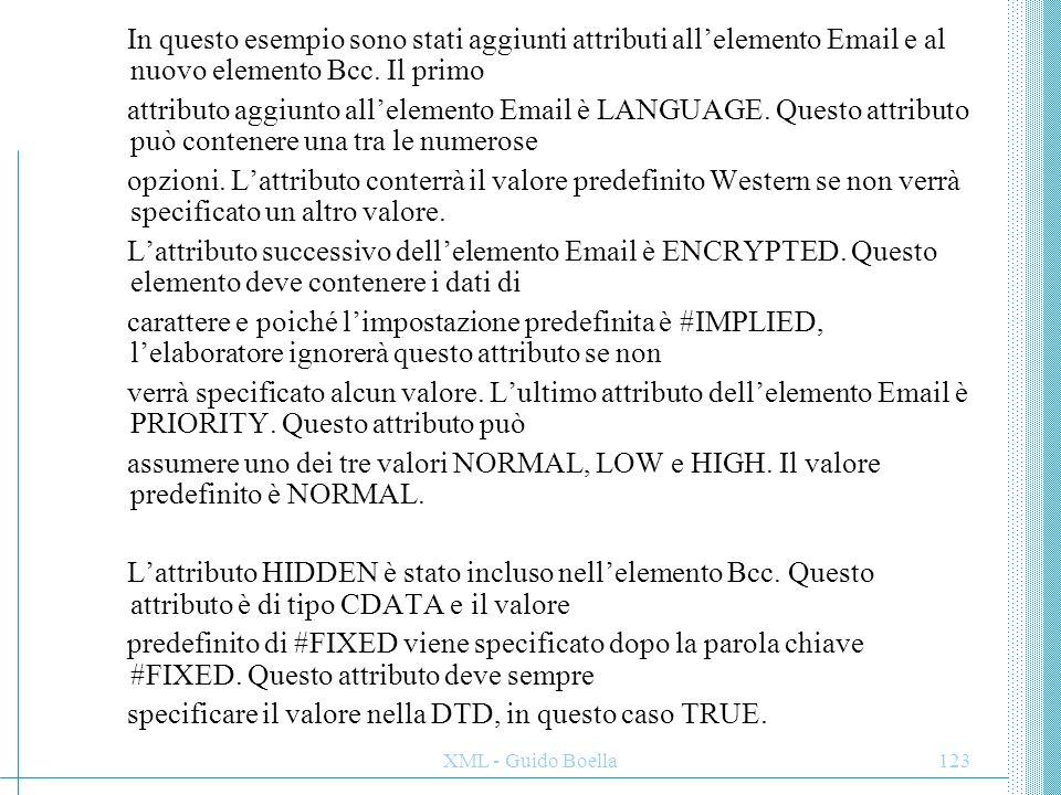 specificare il valore nella DTD, in questo caso TRUE.