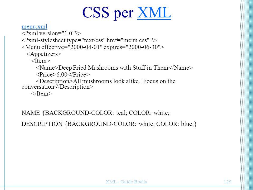 CSS per XML menu.xml < xml version= 1.0 >