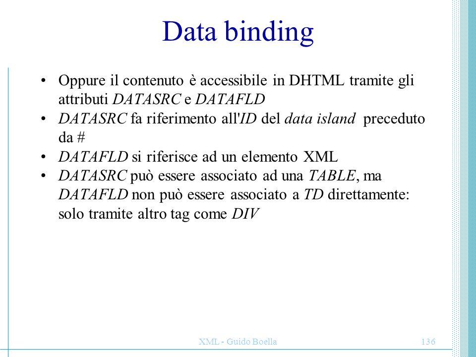 Data binding Oppure il contenuto è accessibile in DHTML tramite gli attributi DATASRC e DATAFLD.