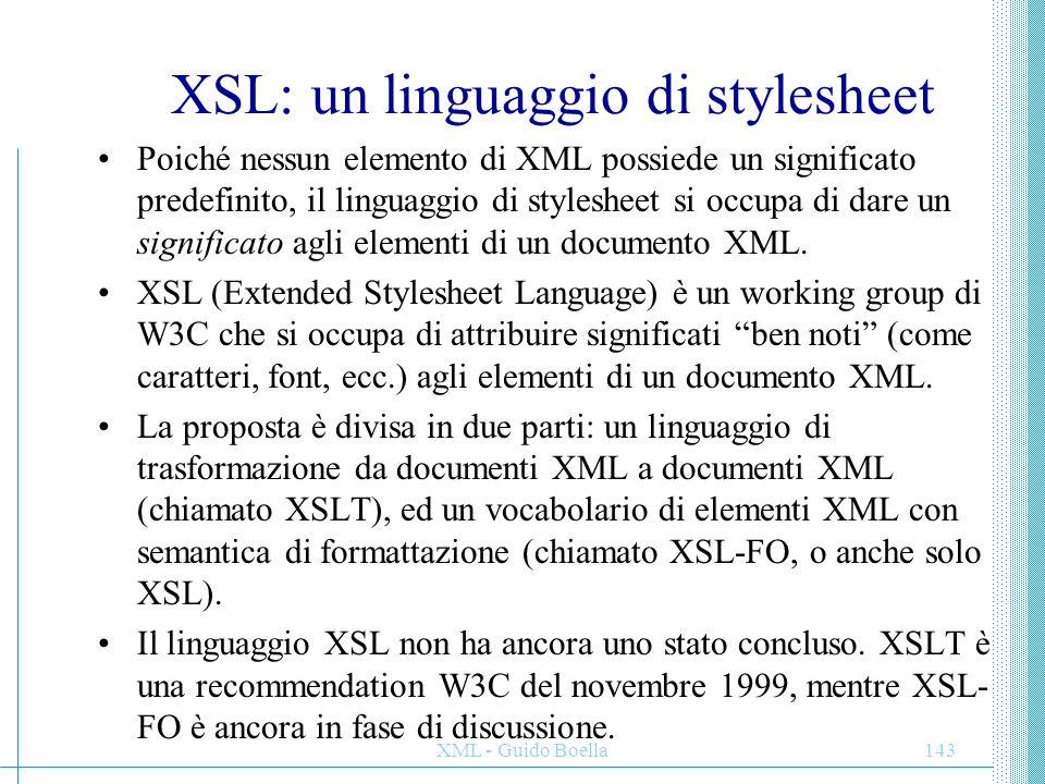 XSL: un linguaggio di stylesheet