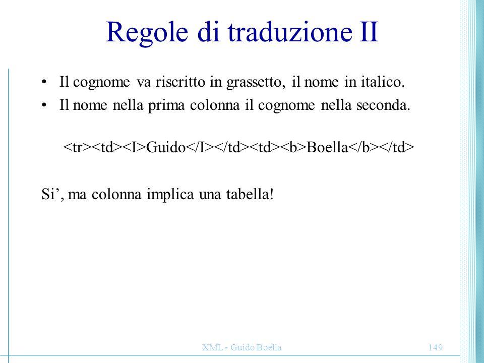 Regole di traduzione II