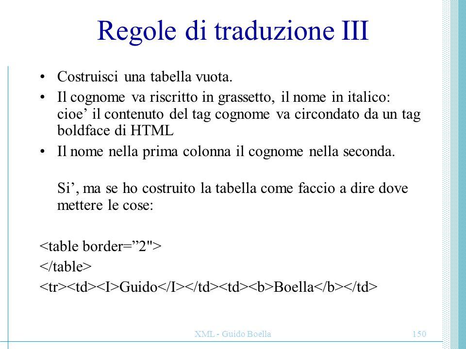 Regole di traduzione III