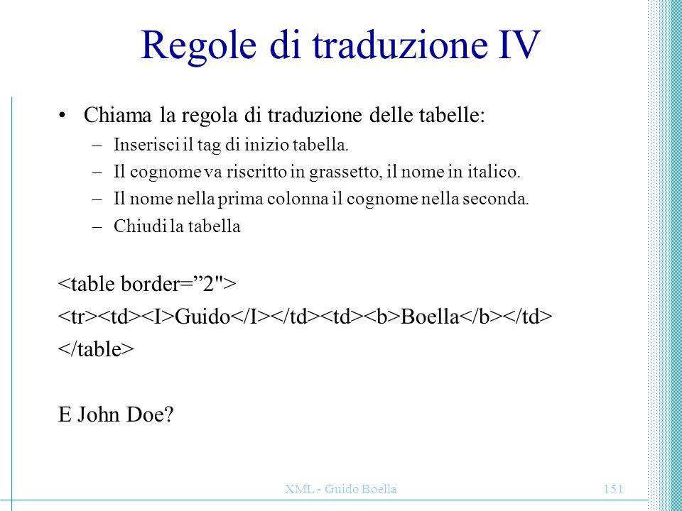 Regole di traduzione IV