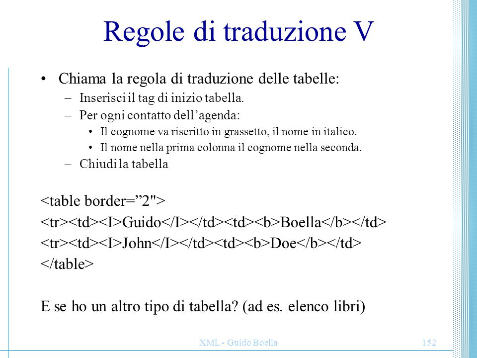 Regole di traduzione V Chiama la regola di traduzione delle tabelle: