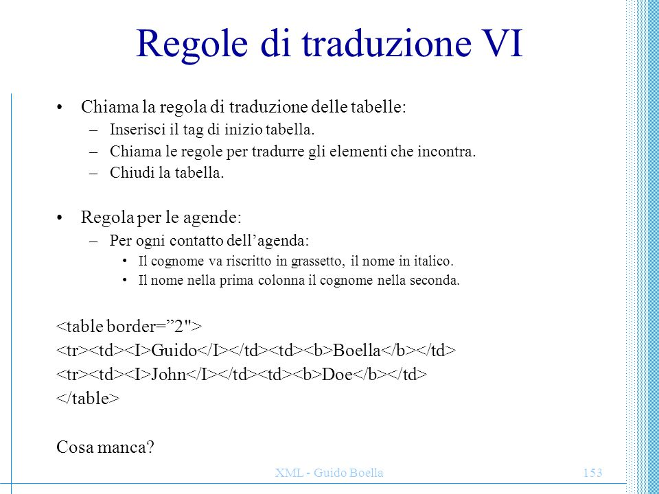 Regole di traduzione VI
