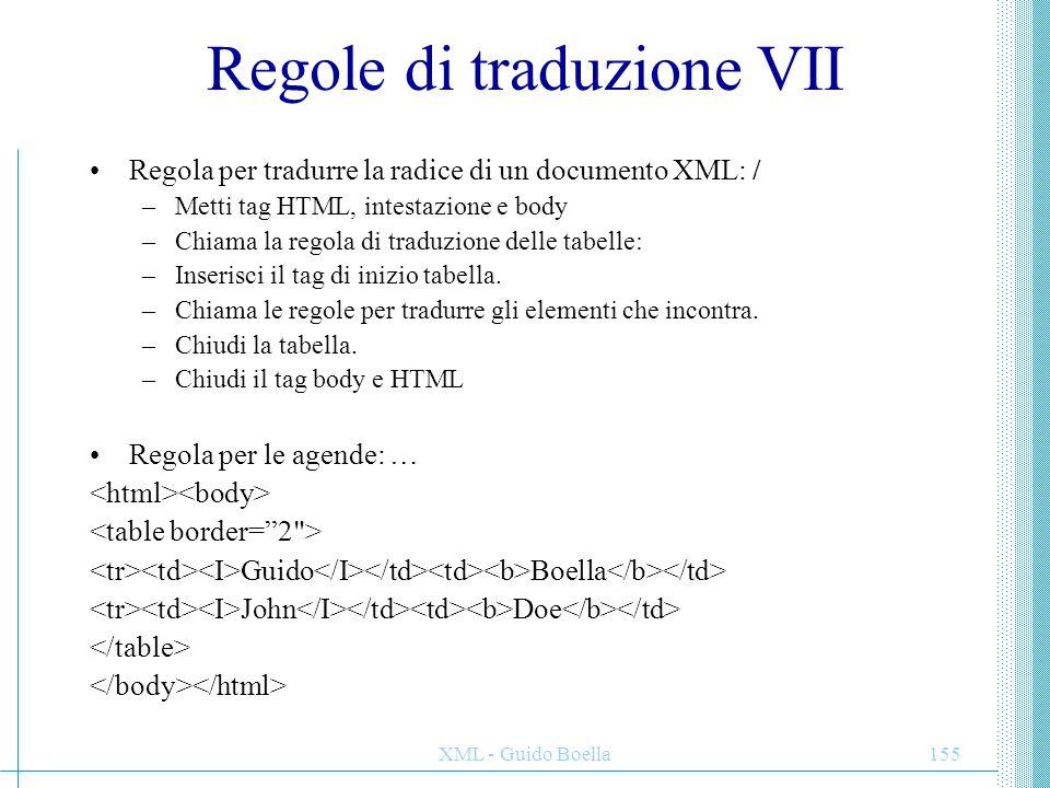 Regole di traduzione VII