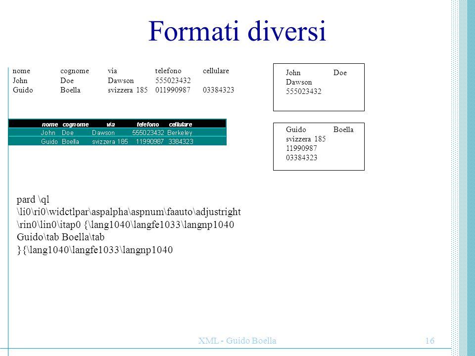 Formati diversi John Doe. Dawson. 555023432. Guido Boella. svizzera 185. 11990987. 03384323.