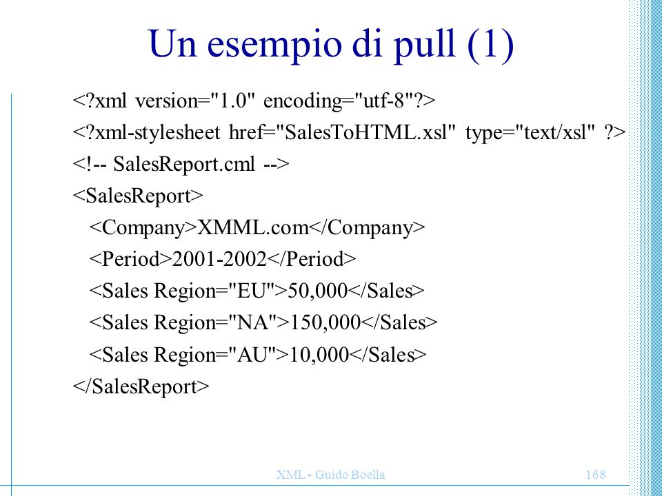 Un esempio di pull (1) < xml version= 1.0 encoding= utf-8 >