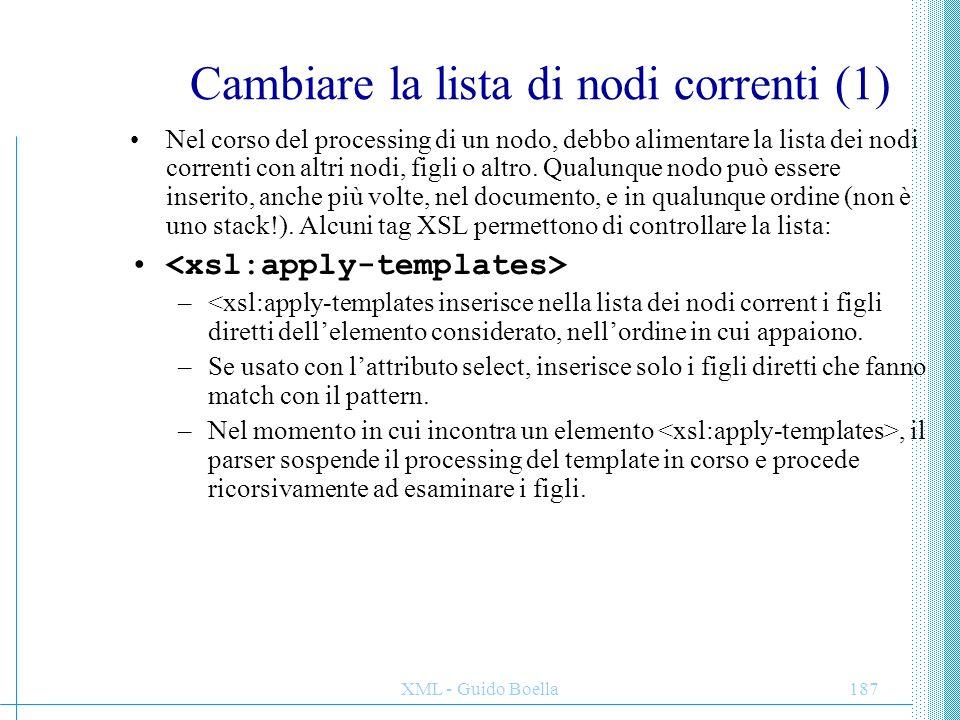 Cambiare la lista di nodi correnti (1)