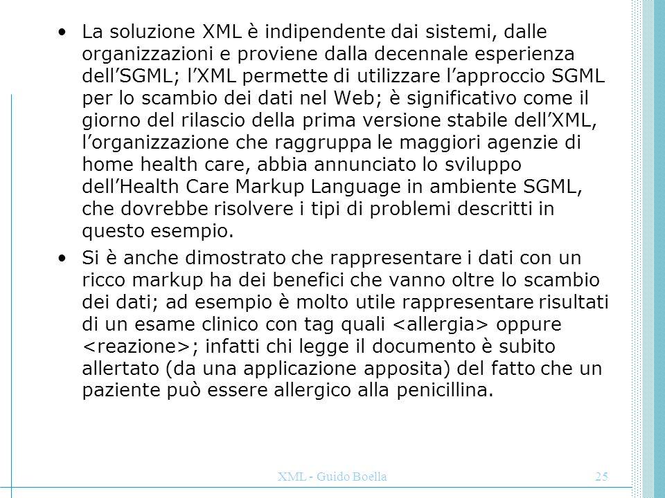 La soluzione XML è indipendente dai sistemi, dalle organizzazioni e proviene dalla decennale esperienza dell'SGML; l'XML permette di utilizzare l'approccio SGML per lo scambio dei dati nel Web; è significativo come il giorno del rilascio della prima versione stabile dell'XML, l'organizzazione che raggruppa le maggiori agenzie di home health care, abbia annunciato lo sviluppo dell'Health Care Markup Language in ambiente SGML, che dovrebbe risolvere i tipi di problemi descritti in questo esempio.