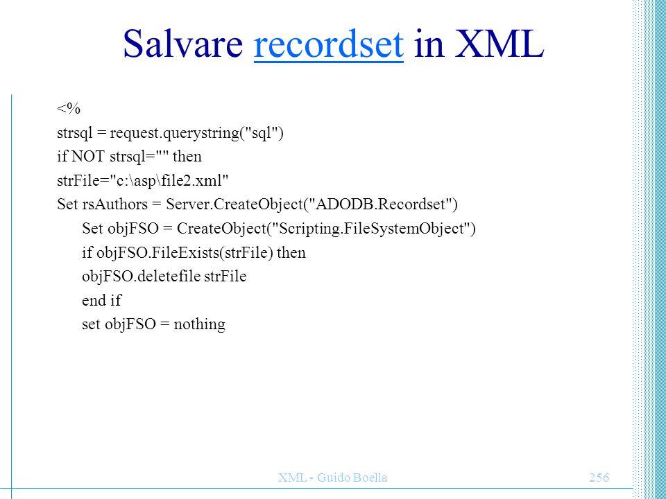 Salvare recordset in XML