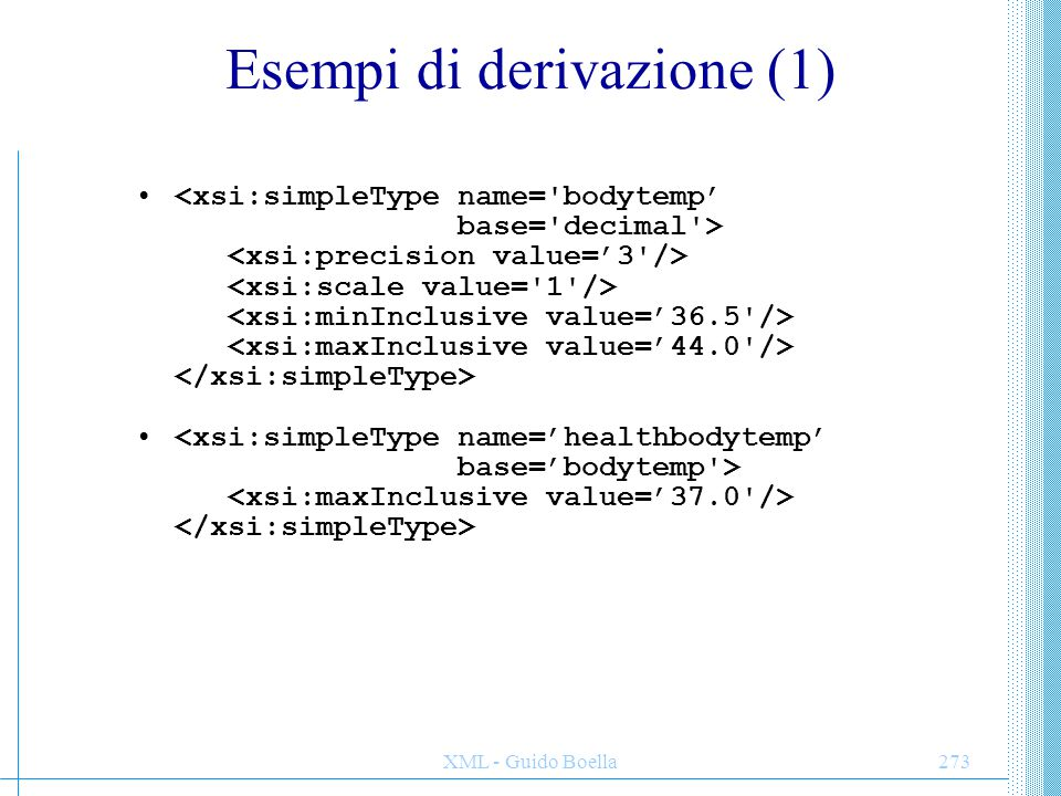 Esempi di derivazione (1)