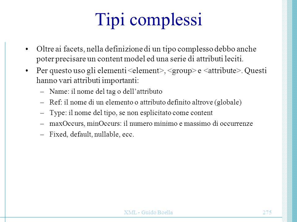Tipi complessi Oltre ai facets, nella definizione di un tipo complesso debbo anche poter precisare un content model ed una serie di attributi leciti.