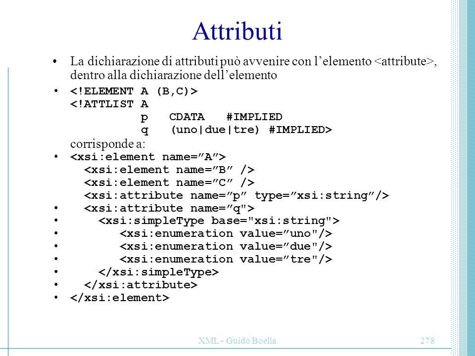 Attributi La dichiarazione di attributi può avvenire con l'elemento <attribute>, dentro alla dichiarazione dell'elemento.
