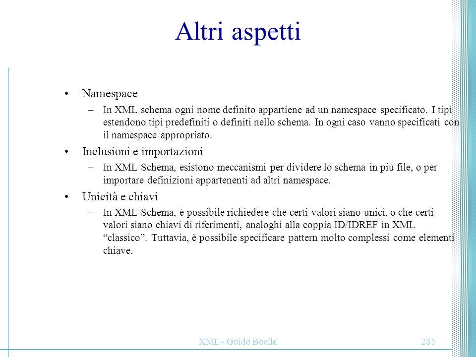 Altri aspetti Namespace Inclusioni e importazioni Unicità e chiavi