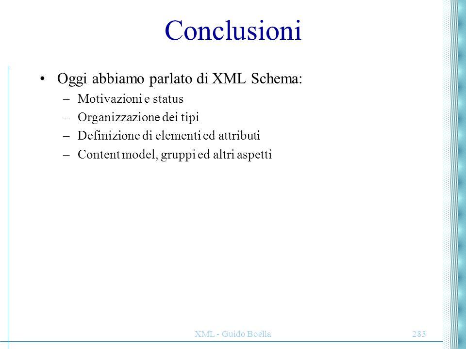 Conclusioni Oggi abbiamo parlato di XML Schema: Motivazioni e status