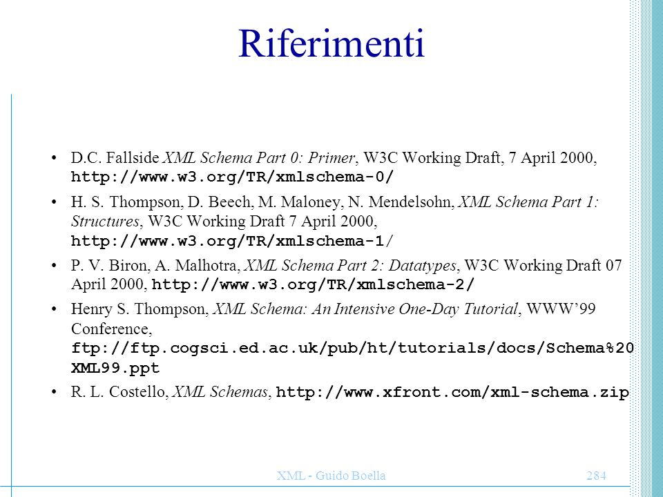 Riferimenti D.C. Fallside XML Schema Part 0: Primer, W3C Working Draft, 7 April 2000, http://www.w3.org/TR/xmlschema-0/