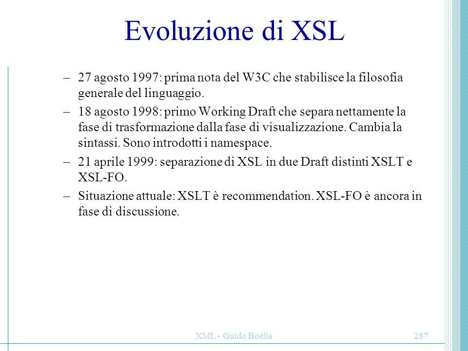 Evoluzione di XSL 27 agosto 1997: prima nota del W3C che stabilisce la filosofia generale del linguaggio.