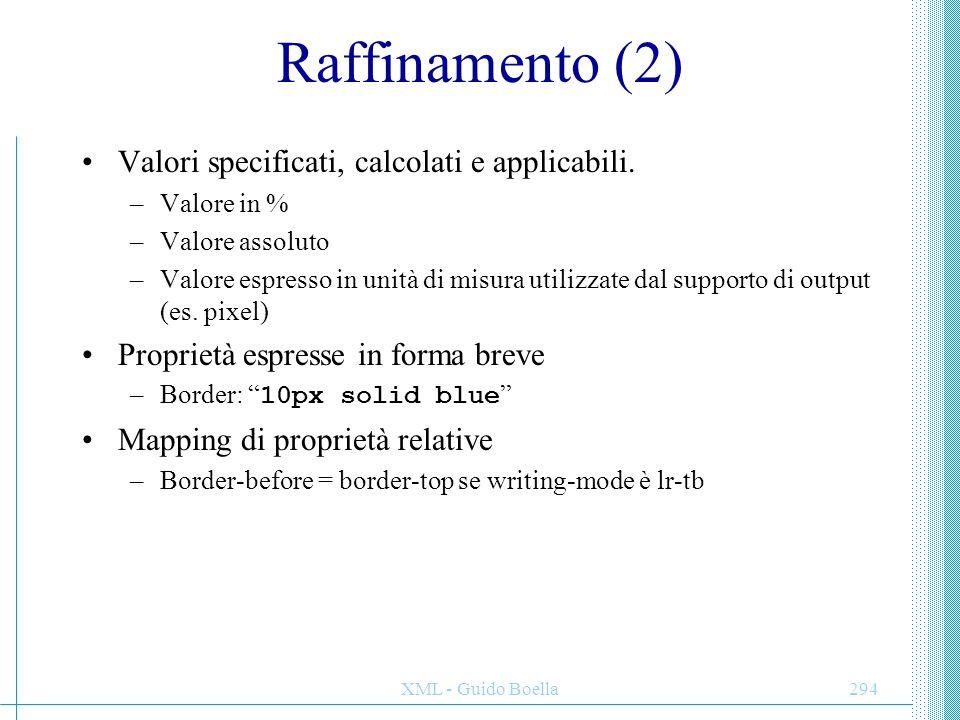 Raffinamento (2) Valori specificati, calcolati e applicabili.