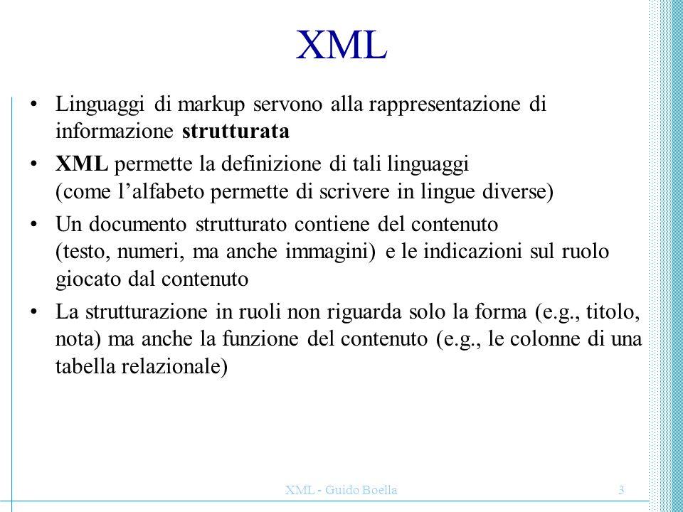 XML Linguaggi di markup servono alla rappresentazione di informazione strutturata.