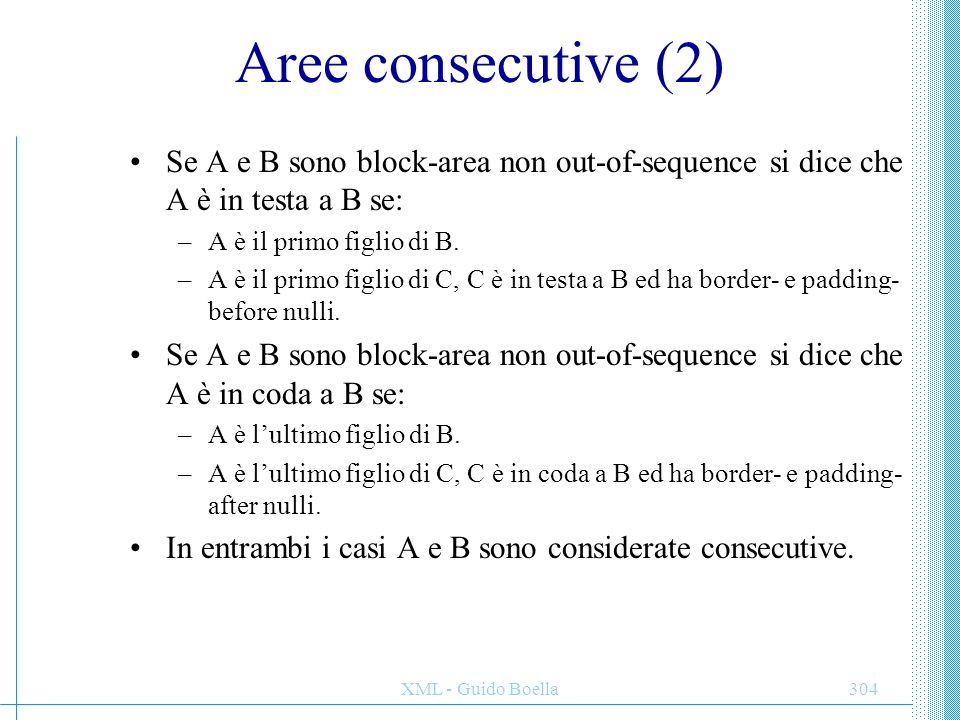 Aree consecutive (2) Se A e B sono block-area non out-of-sequence si dice che A è in testa a B se: A è il primo figlio di B.
