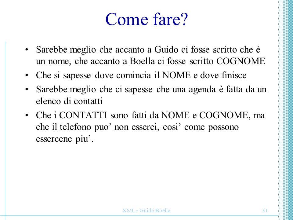 Come fare Sarebbe meglio che accanto a Guido ci fosse scritto che è un nome, che accanto a Boella ci fosse scritto COGNOME.