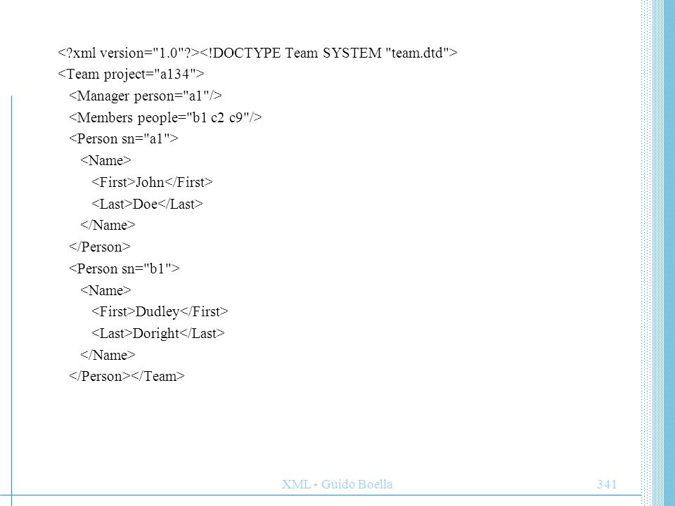 ESEMPIO XML < xml version= 1.0 ><!DOCTYPE Team SYSTEM team.dtd > <Team project= a134 > <Manager person= a1 />