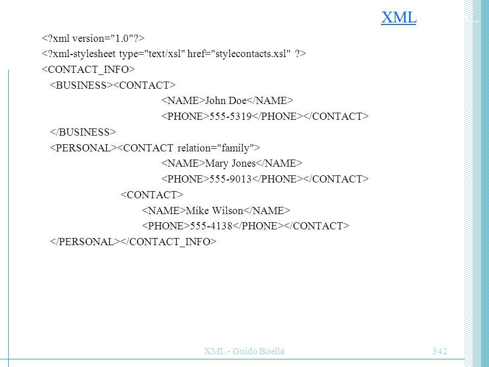 ESEMPIO XML con XSL < xml version= 1.0 >