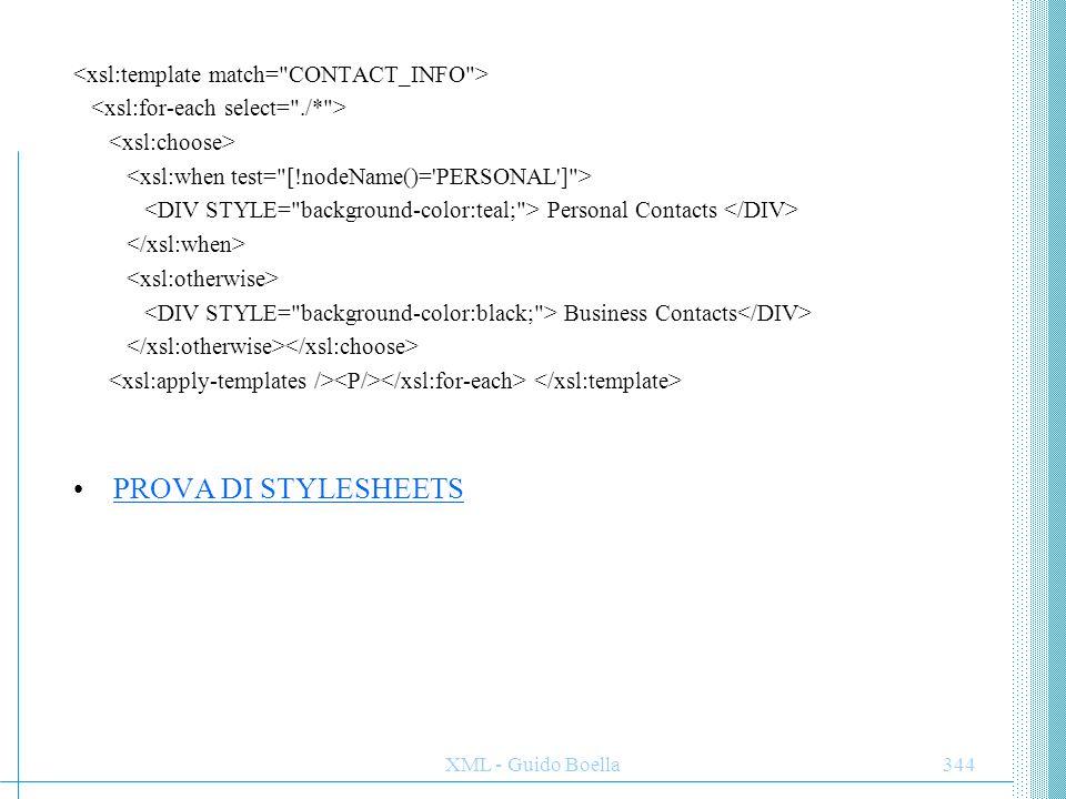 PROVA DI STYLESHEETS <xsl:template match= CONTACT_INFO >