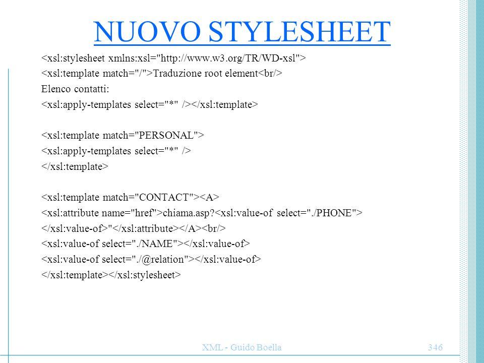 NUOVO STYLESHEET <xsl:stylesheet xmlns:xsl= http://www.w3.org/TR/WD-xsl > <xsl:template match= / >Traduzione root element<br/>