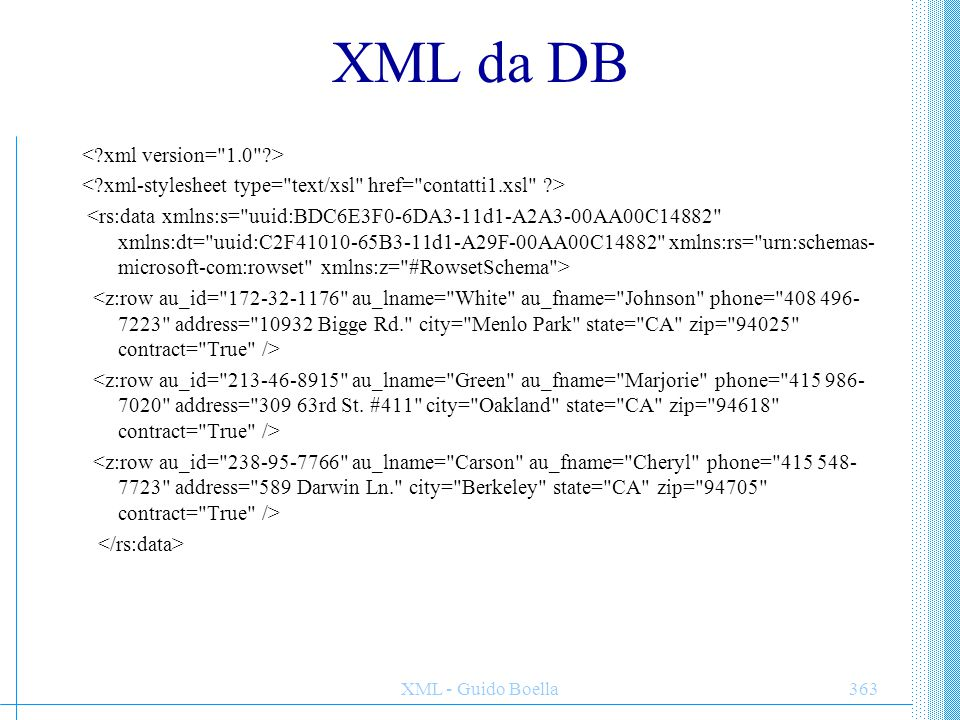 XML da DB < xml version= 1.0 >