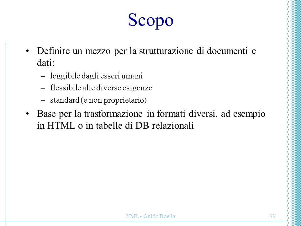 Scopo Definire un mezzo per la strutturazione di documenti e dati: