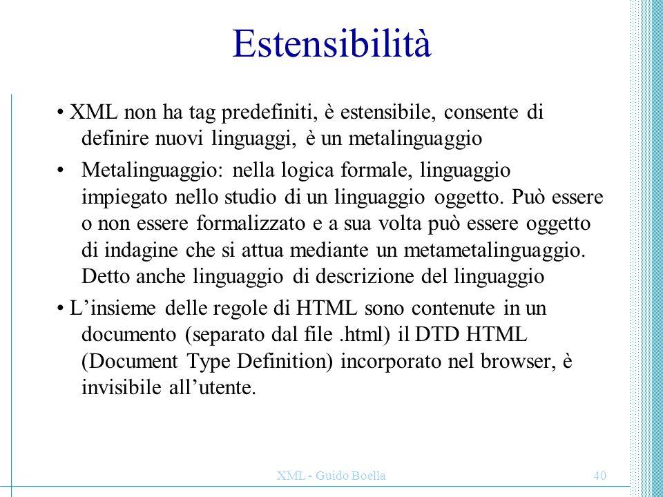 Estensibilità • XML non ha tag predefiniti, è estensibile, consente di definire nuovi linguaggi, è un metalinguaggio.