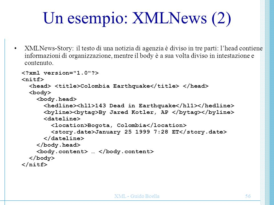 Un esempio: XMLNews (2)