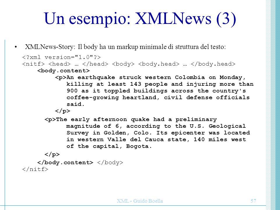 Un esempio: XMLNews (3) XMLNews-Story: Il body ha un markup minimale di struttura del testo: < xml version= 1.0 >